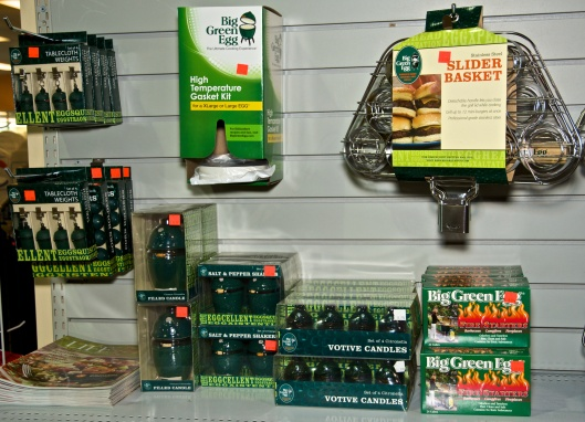 The Big Green Egg tablecoth weights, salt and pepper shakers and candles are also available
