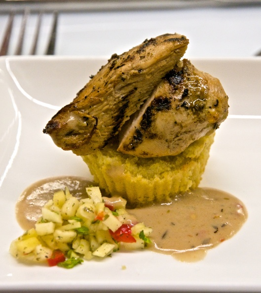 Sable & Rosenfeld jerk chicken on homemade corn bread muffin with mango salsa
