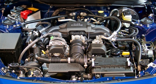 Subaru BRZ D-45 Engine. Notice the cross-bracing on the suspension towers.