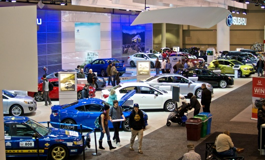 An impressive booth for Subaru.