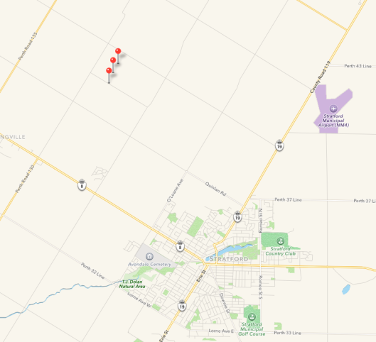 the drop pins indicate the location of the farm northwest of Stratford