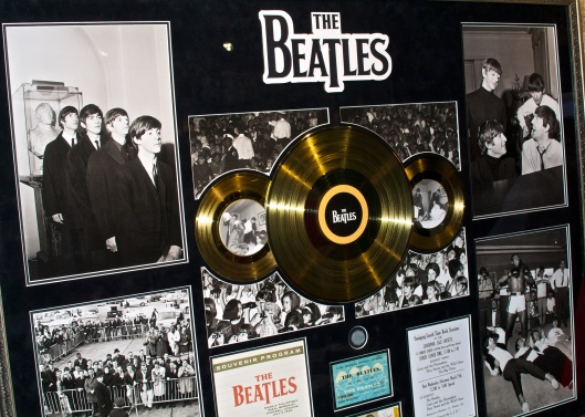 Beatles framed gold LP with two gold 45's